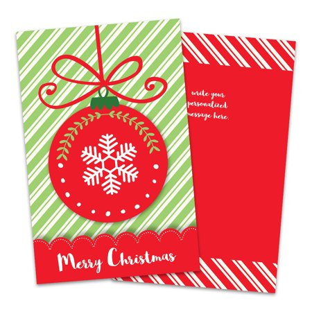 Personalized Red Ornament Folded Christmas Card ()