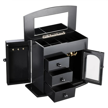 Wooden Jewelry Box Built-in Mirror Ring Earring Necklace Organizer Storage Case Black/White Diamond Platinum Jewelry Box