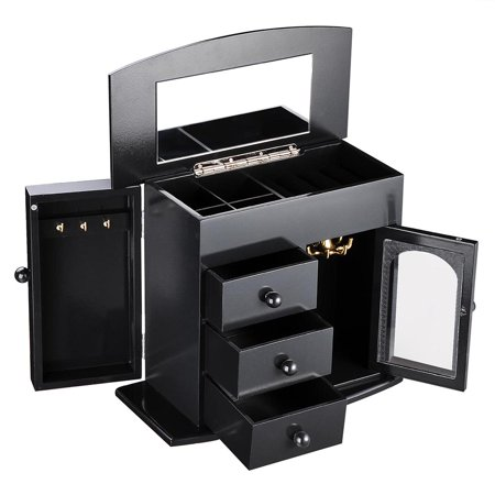 Wooden Jewelry Box Built-in Mirror Ring Earring Necklace Organizer Storage Case Black/White