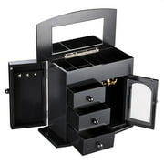 Wooden Jewelry Box Built-in Mirror Ring Earring Necklace Organizer Storage Case Black