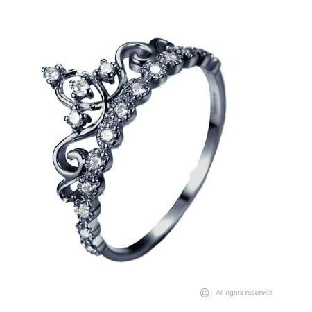 Dainty 925 Sterling Silver Princess Crown Ring (Black Rhodium Plated)