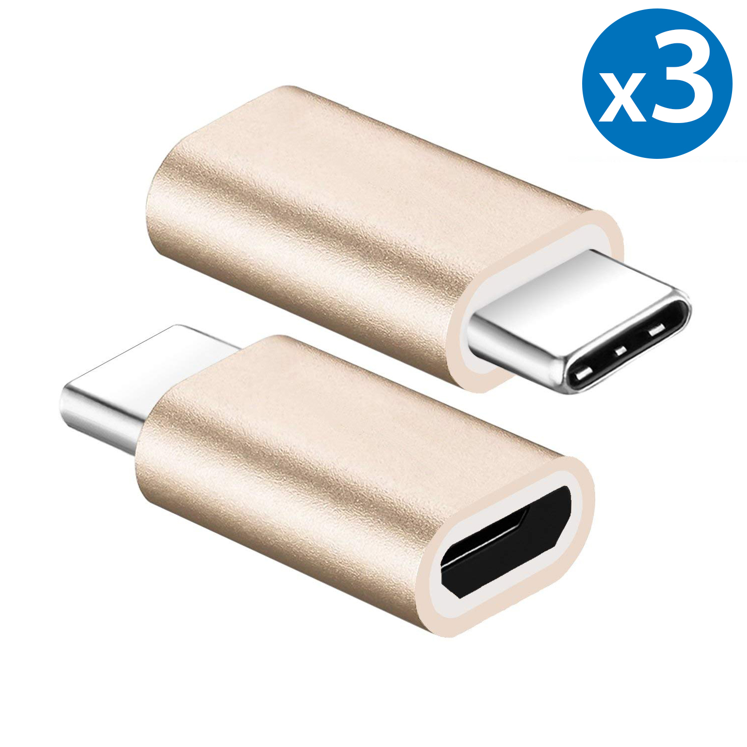 3x FREEDOMTECH Type C Adapter, Micro USB to USB C Adapter, Data Sync and Charging, Universal for Mac, ChromeBook Pixel, Nexus 5X, Nexus 6P, Nokia N1, Samsung Galaxy S9/S8, Note 8/9 All Type C Devices