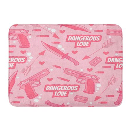 - GODPOK Black Abstract Pink with Arrow Knife Guns Hearts Razor and Cartridges Dangerous Love Funny Cartoon Rug Doormat Bath Mat 23.6x15.7 inch