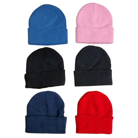 Custom Beanie Hats - 6 Pack Of excell Kids Winter Beanie Hat Assorted Colors