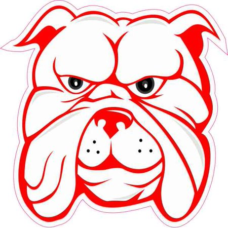 4in x 4in White And Red Bulldog Sticker Vinyl Vehicle Window Decal Stickers