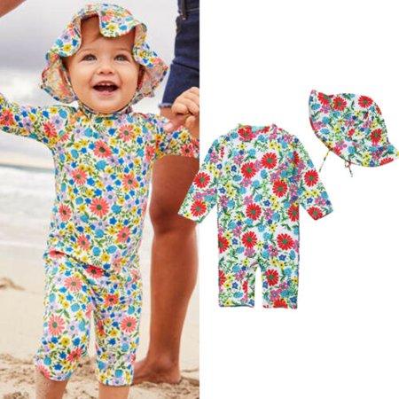 Kind Mädchen Blumen Badeanzug Bademode UV Sonnenschutz Schwimmen Kostüm Outfits (Tri Bademode)