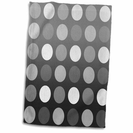 3dRose Black, Gray and White Big Dots - Whimsical Fun Art - Towel, 15 by