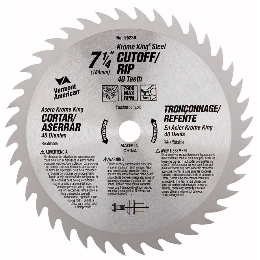 "Vermont American 25230 7-1/4"" 40T Krome King Cutoff/Ripping Circular Saw Blade"