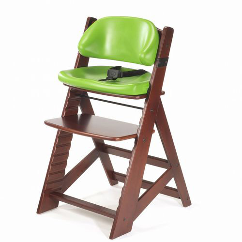 Keekaroo Height Right Kids Chair Mahogany with Lime Comfort Cushions