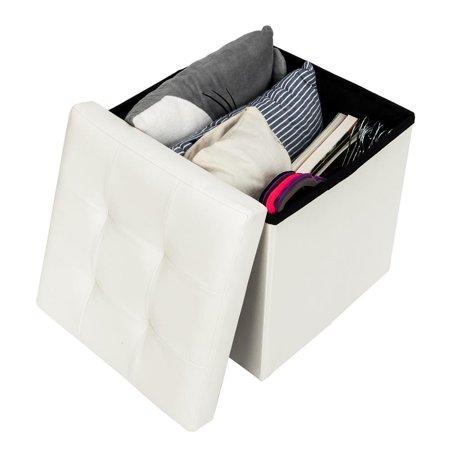 UBesGoo 15 inches Storage Ottoman Cube Step Foot Rest Stool,Foam Padded Seat Footstool ()