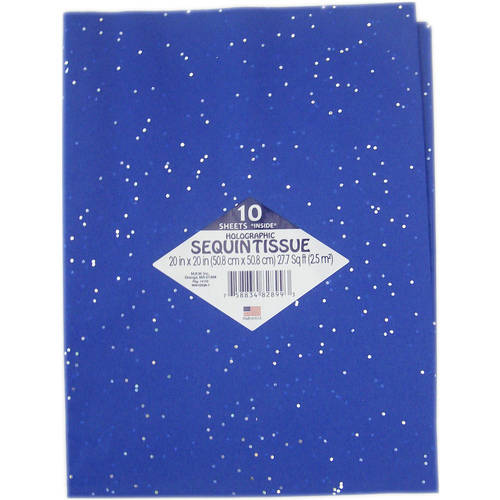 Parade Blue with Holographic Sequin Tissue Paper, 10pk