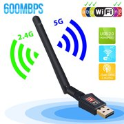 600Mbps Dual Band 5GHz 2.4GHz WiFi Adapter Wireless USB 802.11ac w/ Antenna Wireless Network Dongle 5dBi for PC Laptop PC Desktop Laptop, Supports Windows 10/8.1/7/XP/Vista, Mac OS X