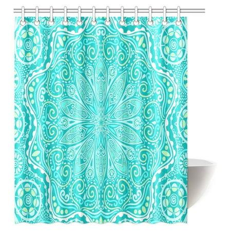 MYPOP Abstract Shower Curtain Paisley Medallion Mandala Decor, Hippie Boho Bohemian Decorations Geometric Fabric Bathroom Shower Curtain Set with Hooks, 60 X 72