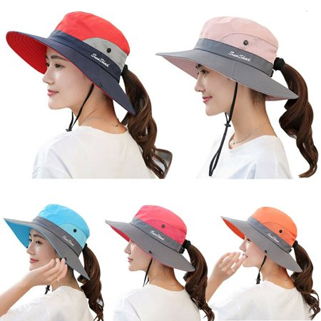 Cotton Visor - The Noble Collection Women Ladies Hat Sun Wide Brim Cap Beach Summer Visor Uv Cotton Cover Protection
