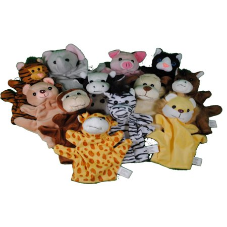 12 Velour Animal Kids Hand Puppets Monkey Cow Pig Etc](Animal Puppets)