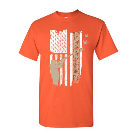 Hunting Flag Gun Rifle Hunt Duck American Flag USA Adult DT T-Shirt Tee ()