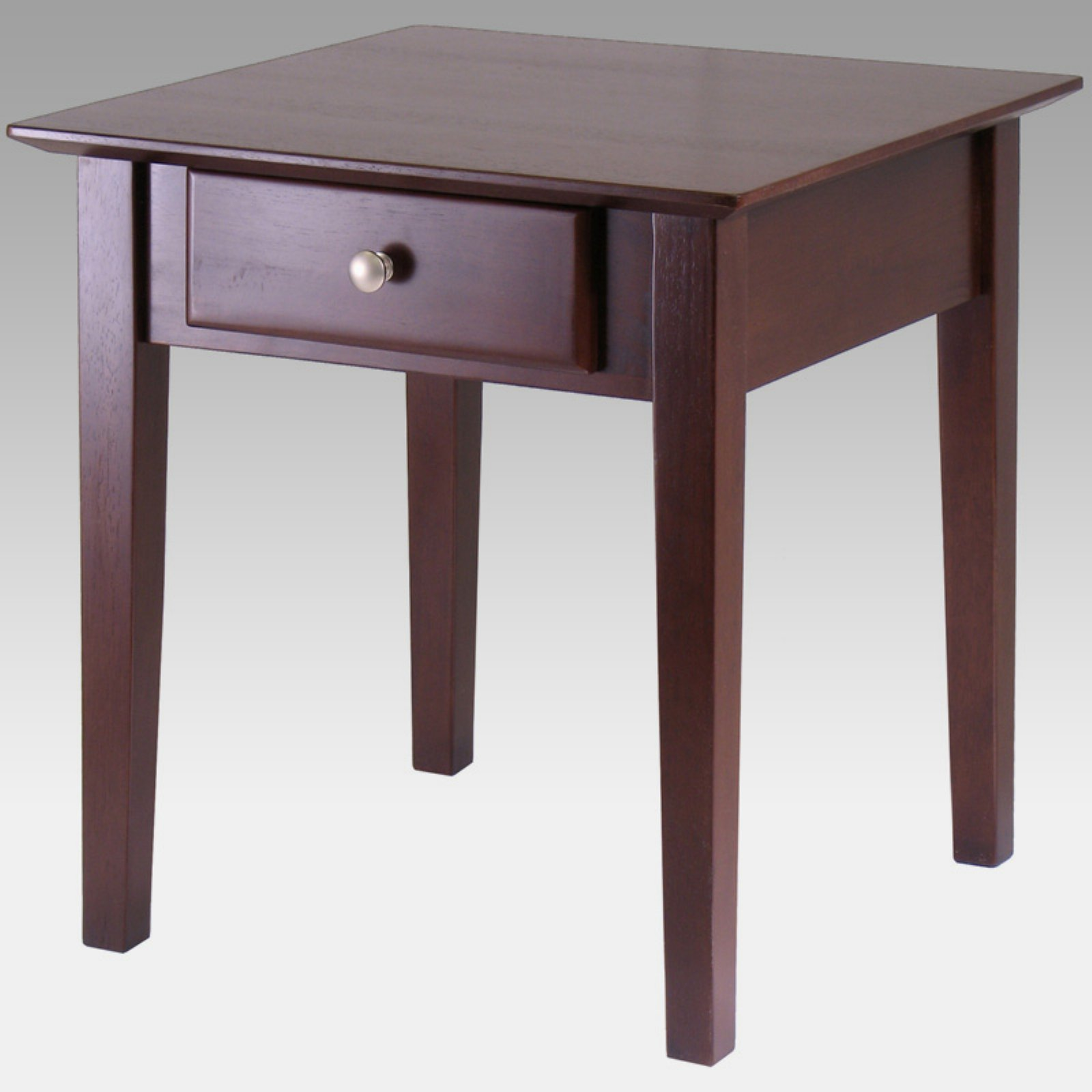 Beau Winsome Wood Rochester Shaker Legs End Table, Walnut Finish