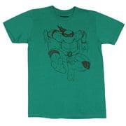 Teenage Mutant Ninja Turtles Mens T-Shirt - Raphel Oulined Jump Attack Image (XX-Large)