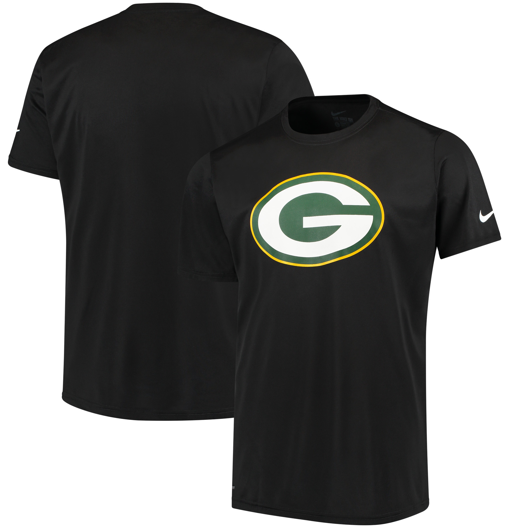 Green Bay Packers Nike Legend Performance Logo Essential 3 T-Shirt - Black