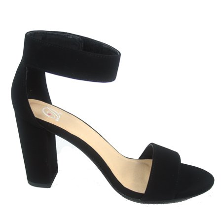Elton-s Open Toe Ankle Chunky Heels