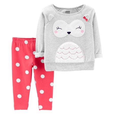Long Sleeve Fleece Owl Top & Leggings, 2-Piece Outfit Set (Toddler Girls)