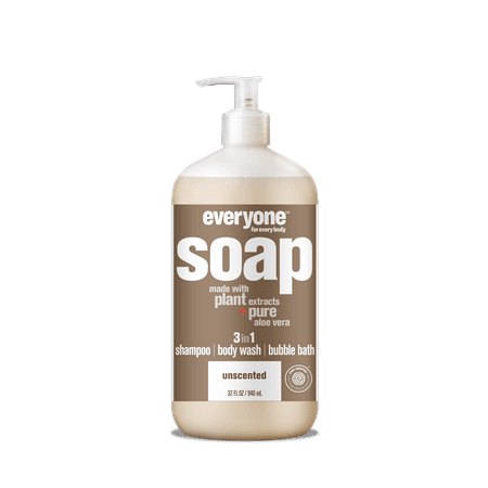 Everyone 3-in-1 Soap Unscented Shampoo Body Wash Bubble Bath 32 oz -  EO Products, 220376