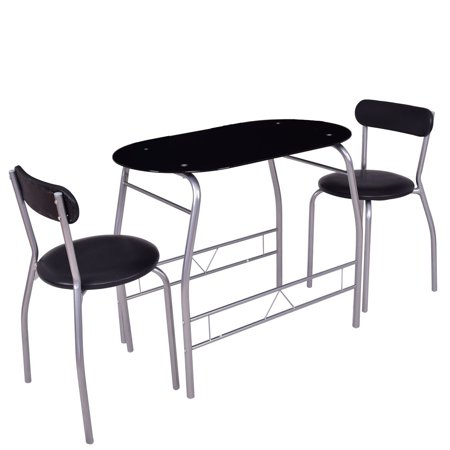 Gymax 3 Pieces Dinning Set Glass Table Top Chairs Furniture ()