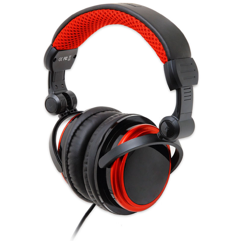 Syba CL-AUD63063 3.5mm Large DJ Headphones (Black/Red) - NEW