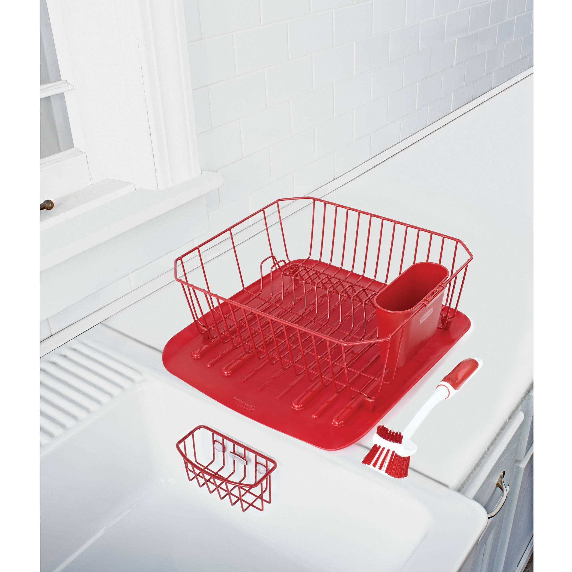 Rubbermaid Antimicrobial Sink Dish Rack Drainer Set, Red, 4-Piece Set