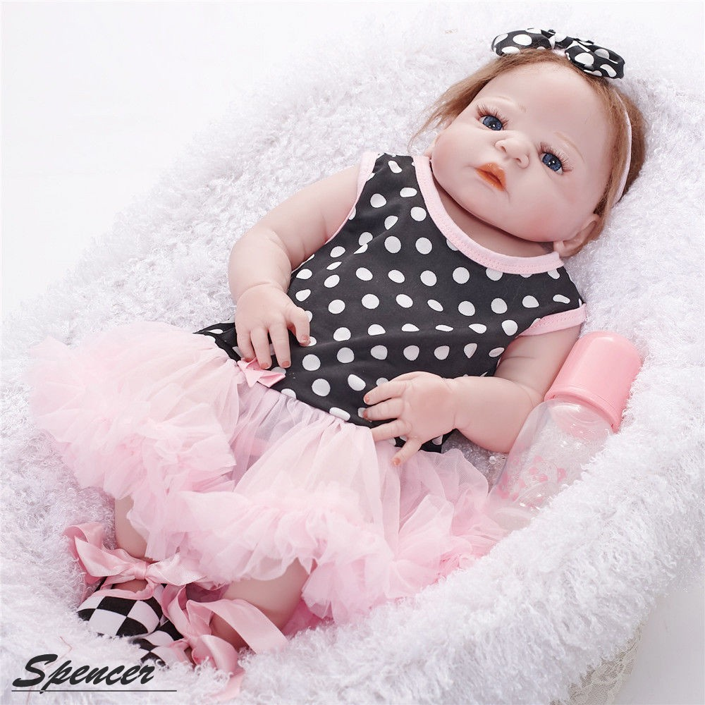 Spencer Reborn Baby Doll Soft Silicone Vinyl 22 inch Lovely Lifelike Cute Baby Boy Girl Toy Beautiful Clothes Doll 55cm