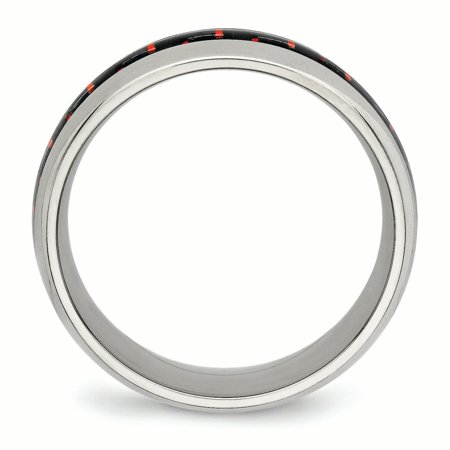 Stainless Steel Polished Black/Red Carbon Fiber Inlay Ring 11.5 Size - image 4 de 6