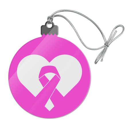 Breast Cancer Awareness Pink Ribbon in Heart Acrylic Christmas Tree Holiday Ornament
