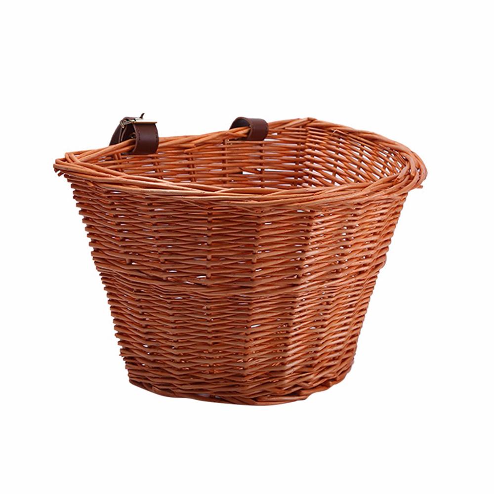 Kids Bicycle Front Handle Basket Wicker D-Shaped Hand-Woven Bike Storage Basket