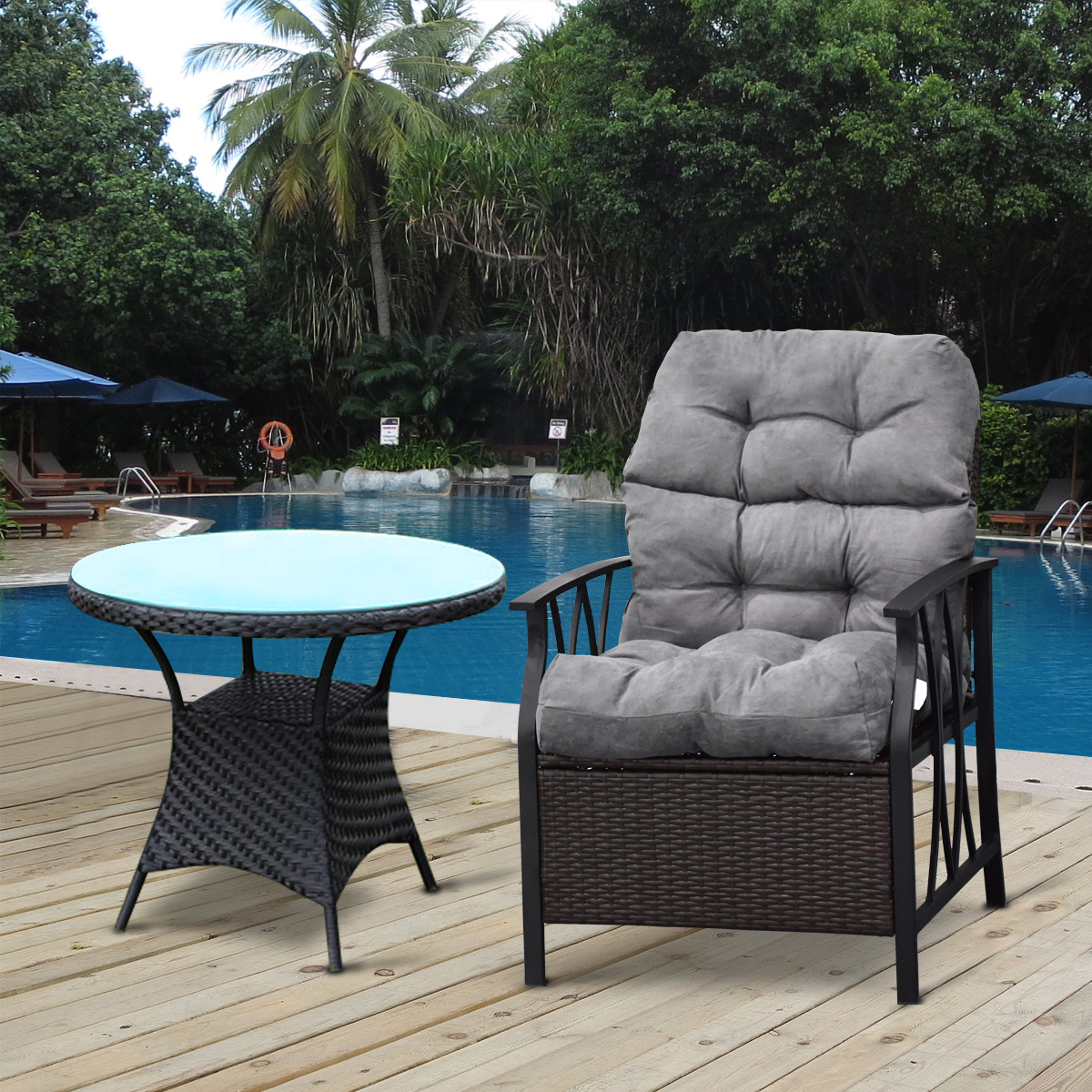 Costway 44'' High Back Chair CushionTufted Pillow Indoor Outdoor Swing Glider Seat Gray