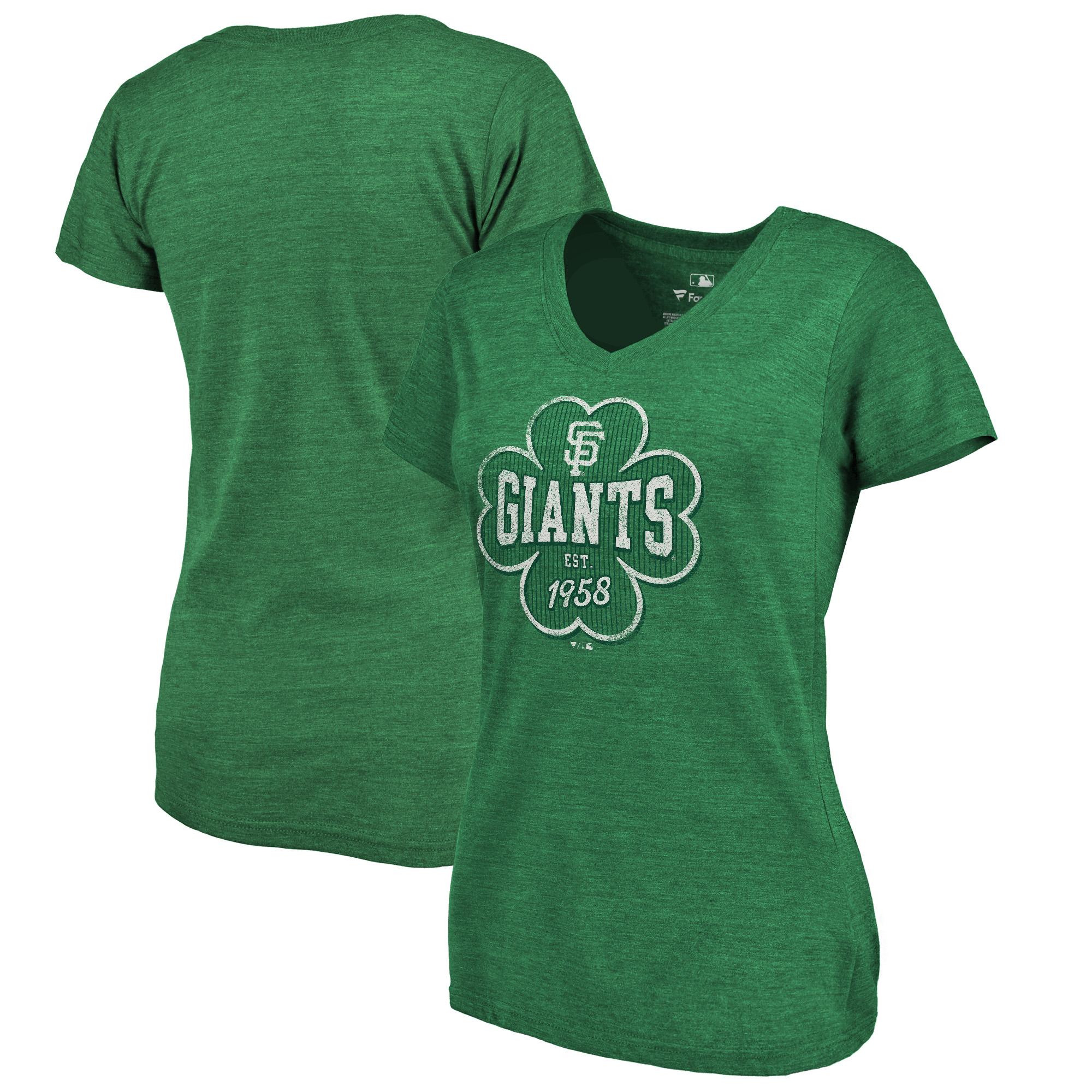 San Francisco Giants Fanatics Branded Women's 2018 St. Patrick's Day Emerald Isle Tri-Blend V-Neck T-Shirt - Heather Kelly Green