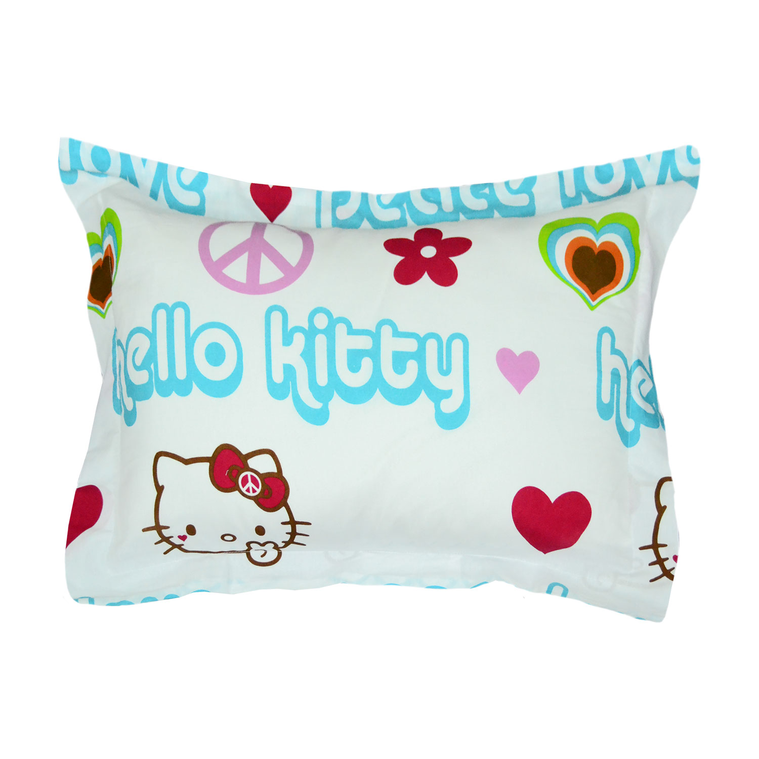 Sanrio Hello Kitty Pillow Sham Hearts and Peace Signs Bed Pillow Cover