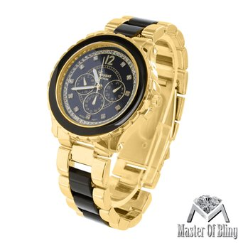 Runway Gold Tone Watch MK Style Black Acetate Link Metal Band Geneva Stylish