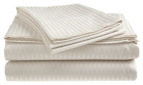 Click here to buy Deluxe Home 100% Cotton 400 Thread Count Dobby Stripe SHeet Set ( QUEEN, WHITE).