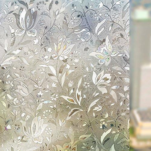 3D Non-Adhesive Flower Window Glass Film Static Decorative Bathroom Living Room Kitchen Sticker Home Decor
