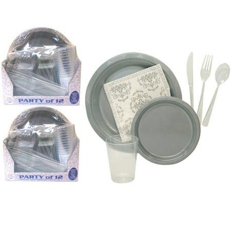 24 Wedding Disposable Plastic Plates Dinner Silverware Salad Cutlery Bulk Party