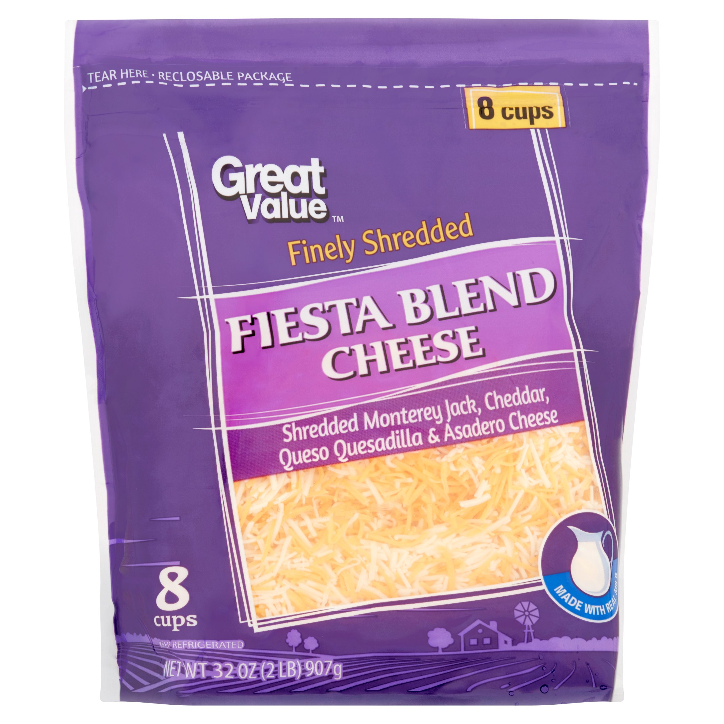Great Value Finely Shredded Fiesta Blend Cheese, 32 oz by Wal-Mart Stores, Inc.