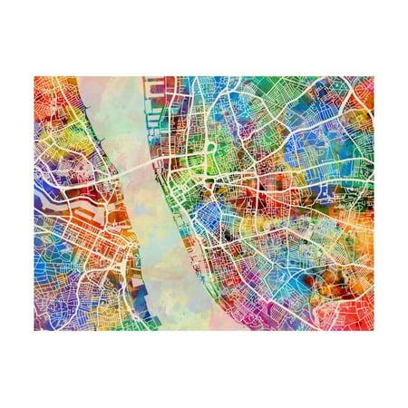 Liverpool England City Street Map Print Wall Art By Michael Tompsett ...