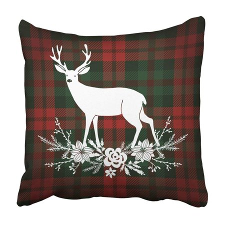 - WOPOP Green Festive Merry Christmas Reindeer With Bouquet Floral Tartan Checkered Plaid Red Pillowcase Cover 20x20 inch