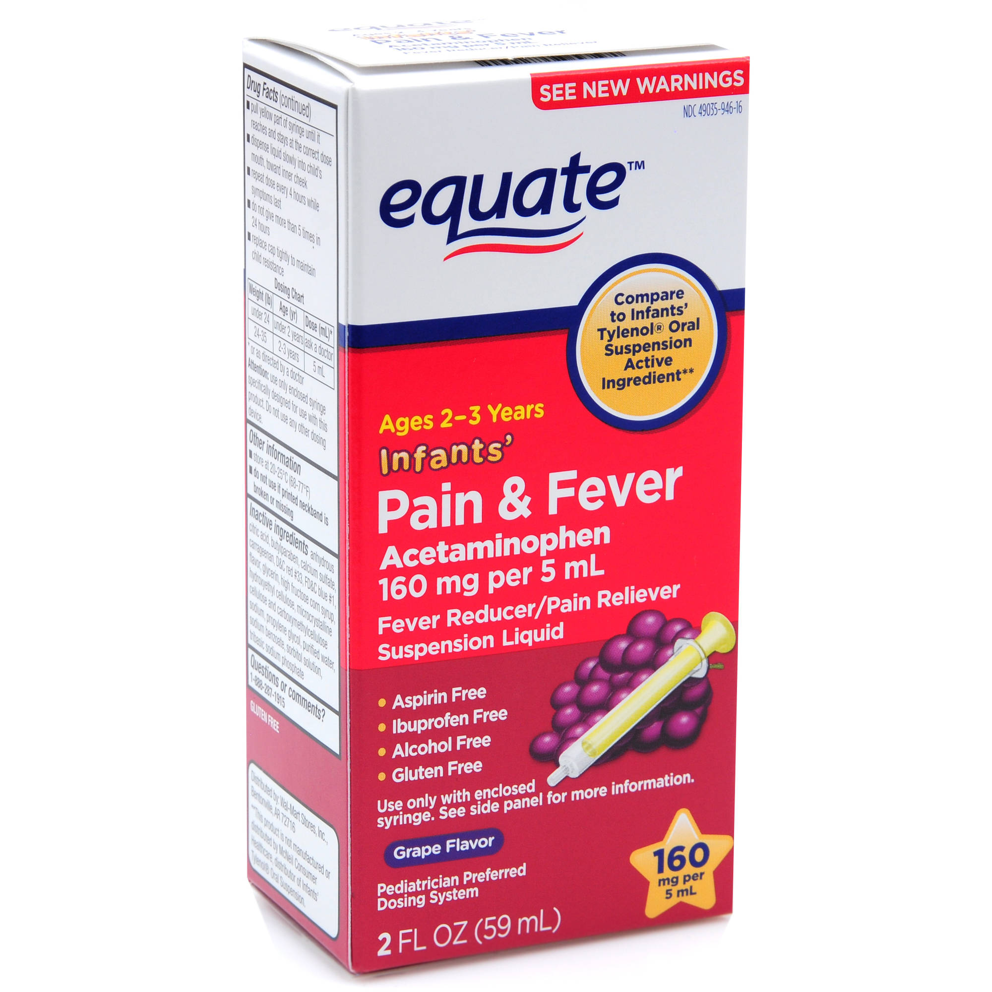 Equate Infants' Liquid Grape Fever Reducer/Pain Reliever, 2 oz