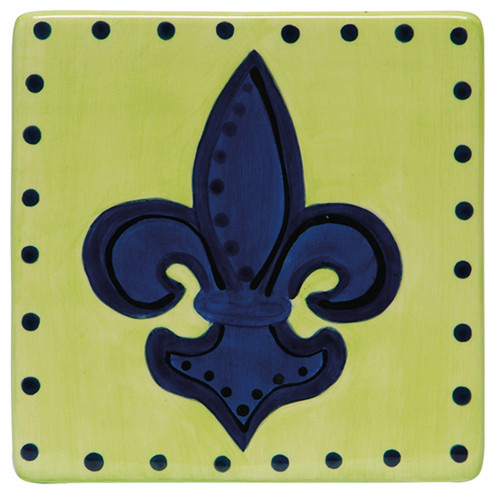 Thompson and Elm Dana Wittmann Mardi Gras and Fleur De Lis Handpainted Ceramic Trivet