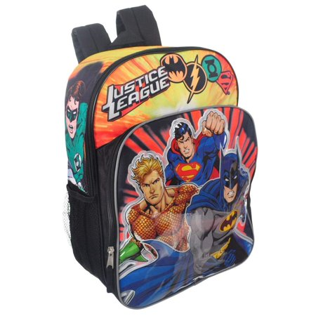 Justice Backpacks For Kids (Justice League Boys' 16 Inch Backpack Superheroes Batman, Superman, Aquaman, Green Lantern PLUS Bonus Justice League Spinner -)