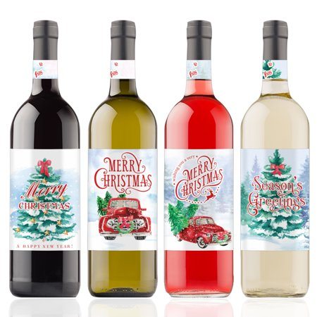 Christmas Wine Bottle Stickers, 4 Count - Vintage Red Truck Christmas Decor - 4 Wine Labels with Gift Tags