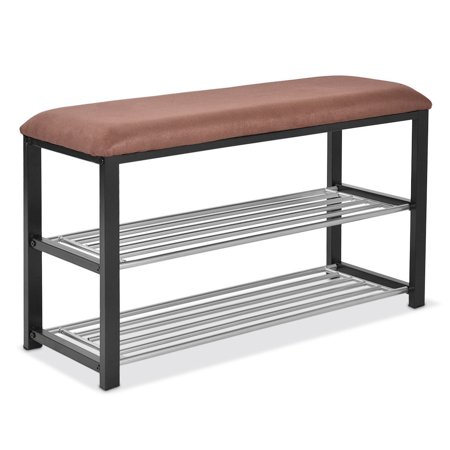 Costway 2 Tier Shoe Storage Rack Bench Shelf Soft Seat Stool Organizer Entryway Furni