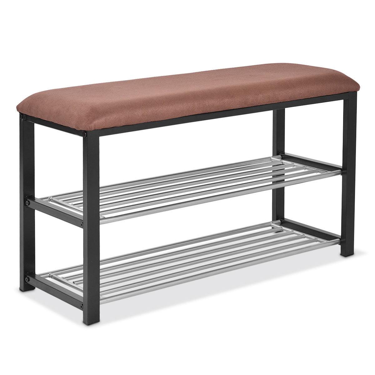 Costway 2 Tier Shoe Storage Rack Bench Shelf Soft Seat Stool Organizer Entryway Furni