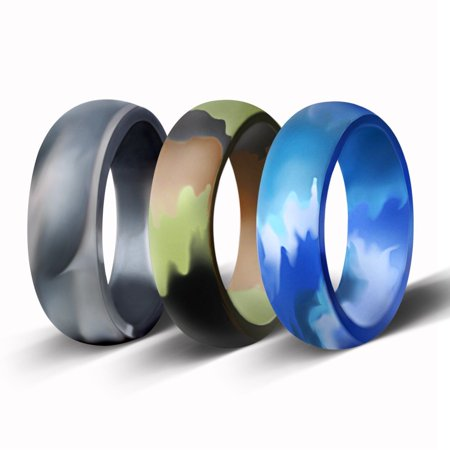 3 Pack Men's Silicone Wedding Ring Camouflage Rubber Band Elegant Flexible](Camo Ring)